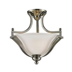 Filament Design 2-Light Brushed Nickel Semi Flush Mount with Matte Opal Glass - 15 inch