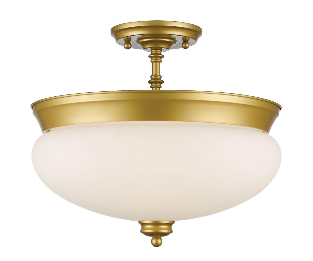 Filament Design 3-Light Satin Gold Semi Flush Mount with Matte Opal Glass - 15 inch