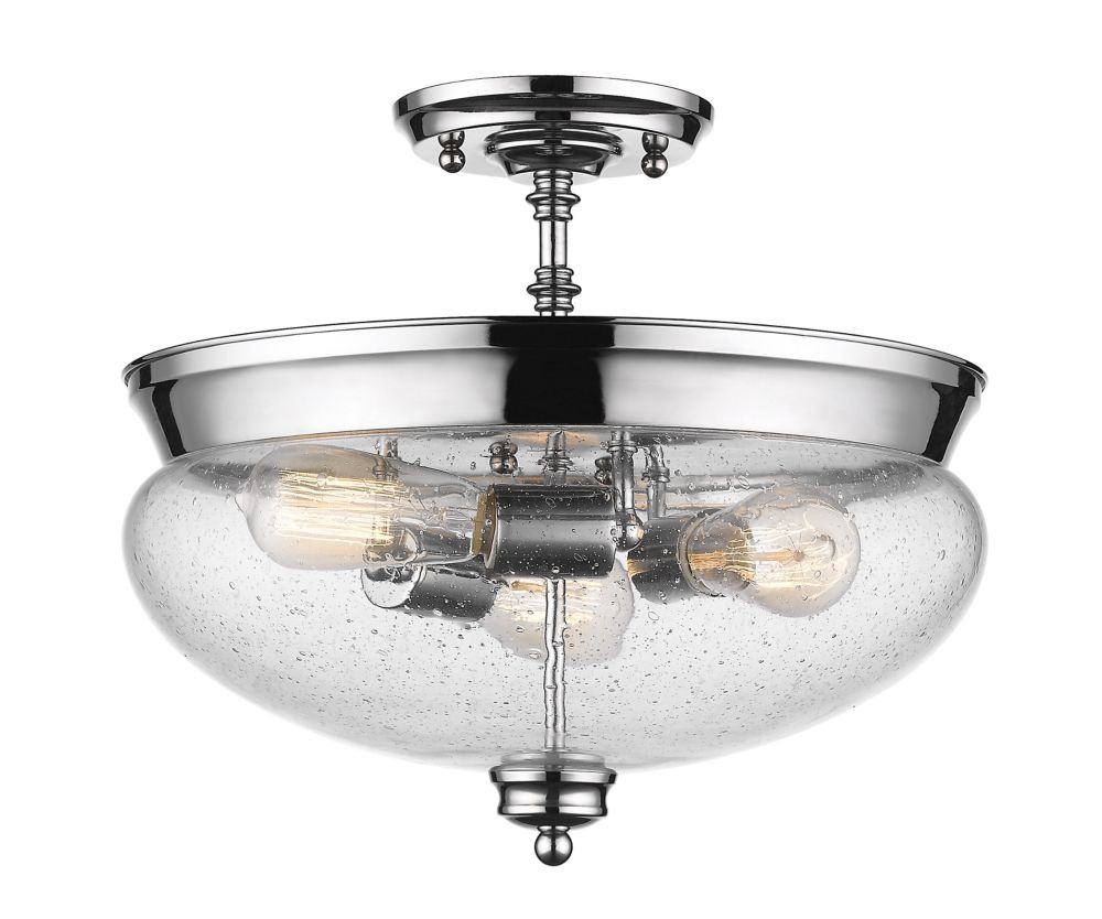 Filament Design 3-Light Chrome Semi Flush Mount with Clear Seedy Glass - 15 inch