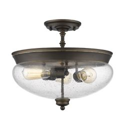 Filament Design 3-Light Olde Bronze Semi Flush Mount with Clear Seedy Glass - 15 inch