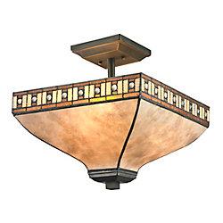Filament Design Semi-plafonnier Java à 3 ampoules au fini bronze Java avec abat-jour en mica blanc et abat-jour mica ambré miel et ambre