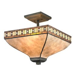 Filament Design 3-Light Java Bronze Semi-Flush Mount with White Mica Shade and Honey Amber Tiffany Mica Shade