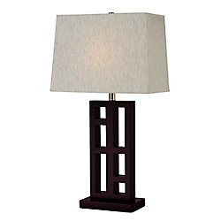 Filament Design 1-Light Mahogany Table Lamp with Flax Linen Fabric Shade - 17 inch