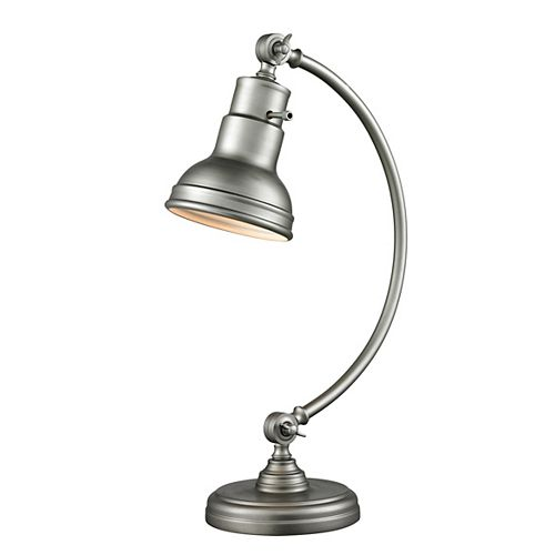 Filament Design 1-Light Burnished Silver Table Lamp with Burnished Silver Steel Shade