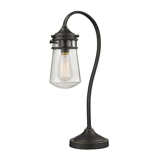 Filament Design 1-Light Olde Bronze Table Lamp with Clear Seedy Glass - 9 inch