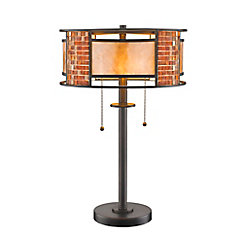 Filament Design 2-Light Bronze Table Lamp with White Mica Shade and Tile Glass - 14 inch
