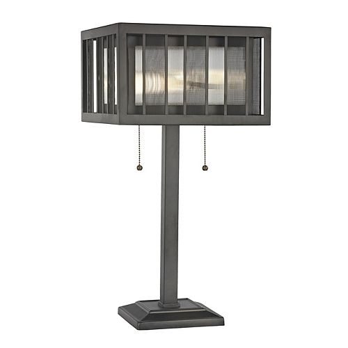 Filament Design 2-Light Bronze Table Lamp with Bronze and Clear Reeded Glass and Steel Shade - 12 inch