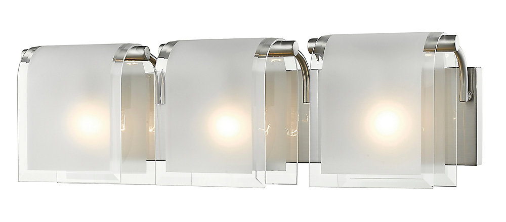 3-Light Brushed Nickel Vanity with Clear Beveled and Frosted Glass - 5 inch
