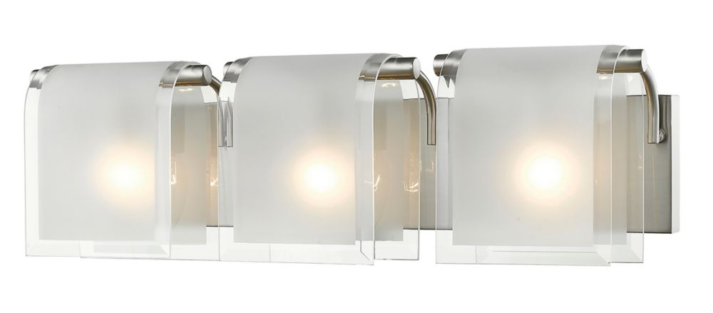 Filament Design 3-Light Brushed Nickel Vanity with Clear Beveled and Frosted Glass - 5 inch