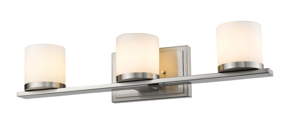 3-Light Brushed Nickel Bath Vanity with Matte Opal Glass - 5 inch