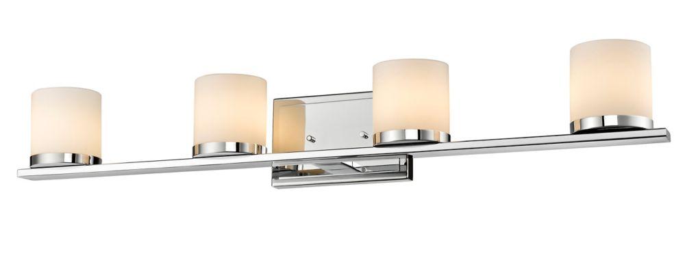 Filament Design 4-Light Chrome Bath Vanity with Matte Opal Glass Shade