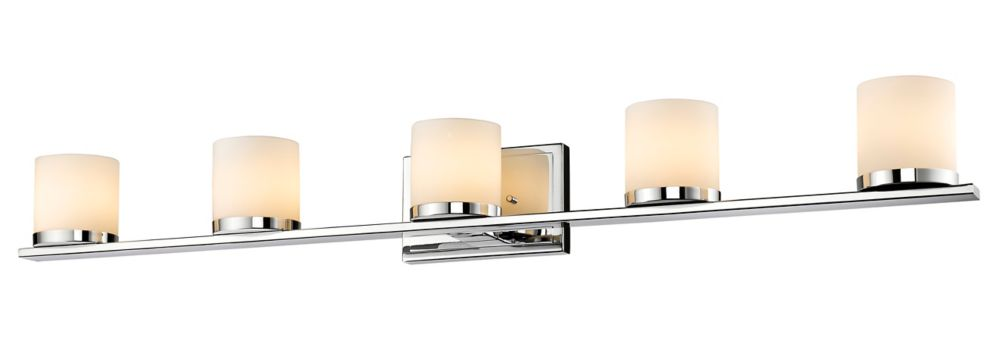 Filament Design 5-Light Chrome Bath Vanity with Matte Opal Glass - 5 inch