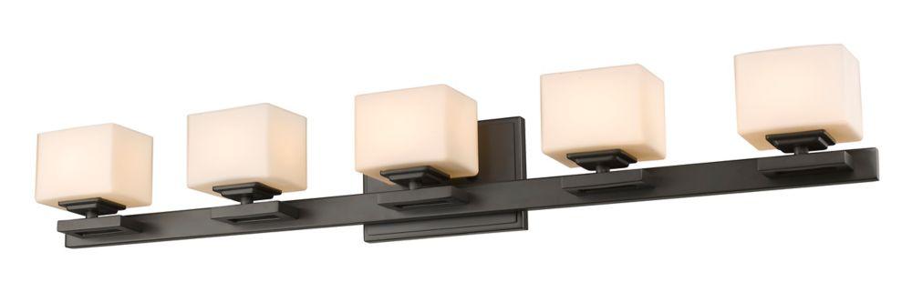 Filament Design 5-Light LED Bronze Vanity with Matte Opal Glass - 4.3 inch