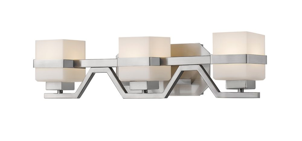 3-Light LED Brushed Nickel Vanity with Matte Opal Glass