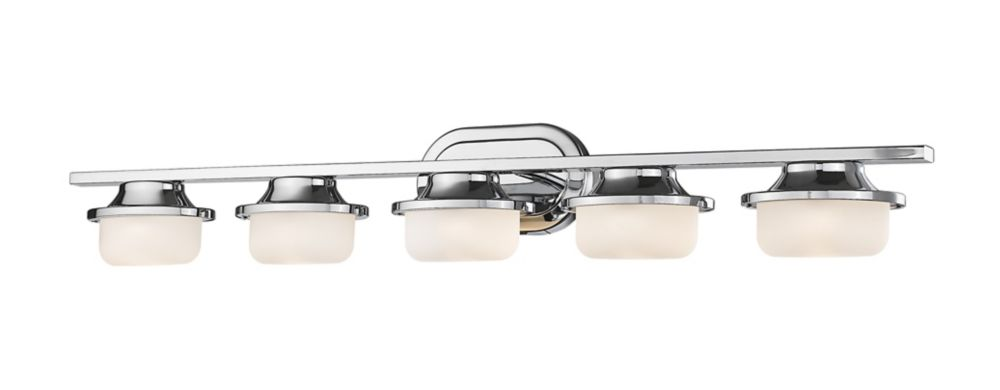 Filament Design 5-Light Chrome Vanity with Matte Opal Glass - 5.2 inch