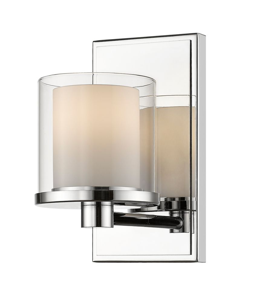 Filament Design 1-Light Chrome Vanity with Clear and Matte Opal Glass - 6.5 inch