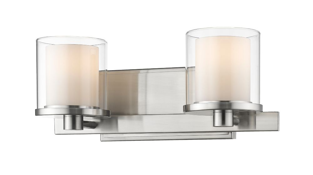 Filament Design 2-Light Brushed nickel Vanity with Clear and Matte Opal Glass - 6.4 inch