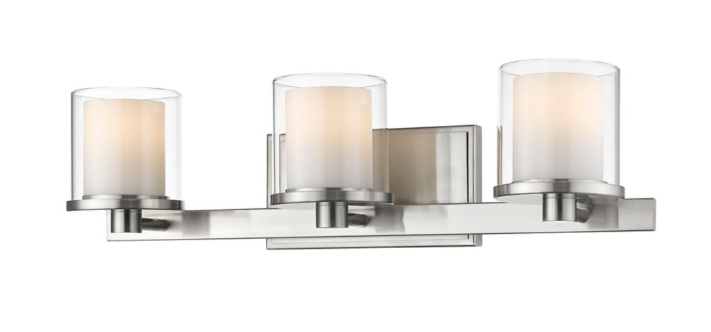 Filament Design 3-Light Brushed nickel Vanity with Clear and Matte Opal Glass - 6.4 inch
