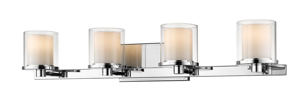 Filament Design 4-Light Chrome Vanity with Clear and Matte Opal Glass - 6.4 inch