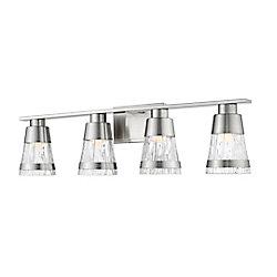 Filament Design Vanité à 4 lampes, nickel brossé et verre biseauté, 5,6 po