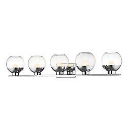 Filament Design Meuble chrome à 5 lampes avec verre transparent - 7,25 pouces