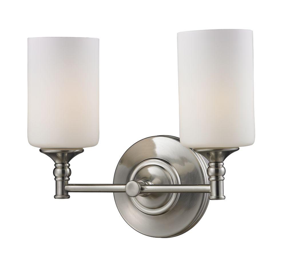 Filament Design 2-Light Brushed Nickel Bath Vanity with Matte Opal Glass - Up/Down Mount