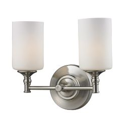 Filament Design 2-Light Brushed Nickel Bath Vanity with Matte Opal Glass - Up/Down Mount