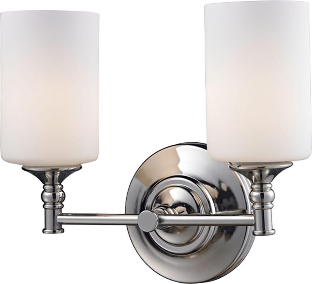 Filament Design 2-Light Chrome Bath Vanity with Matte Opal Glass