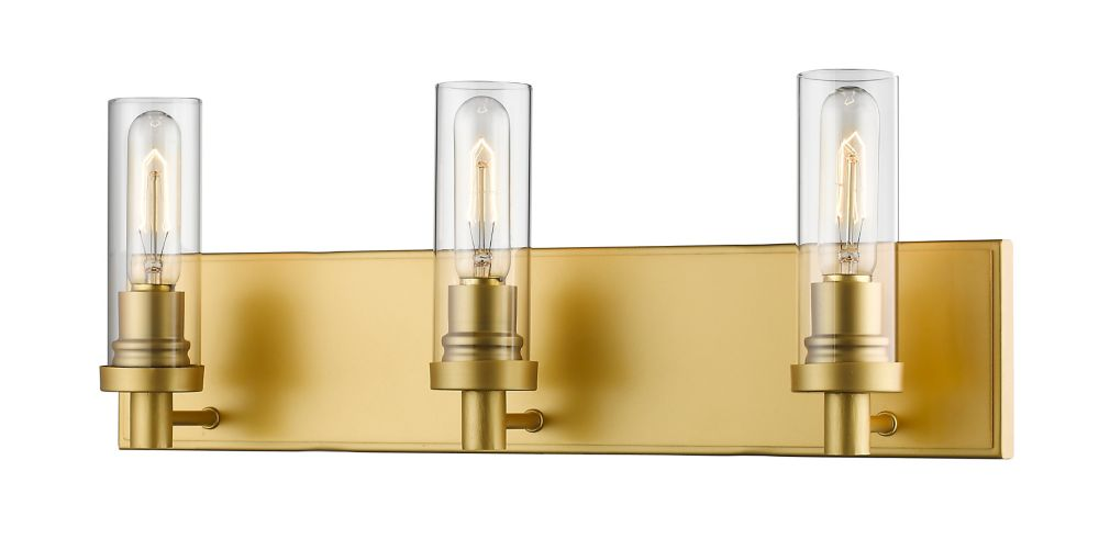 Filament Design 3-Light Satin Gold Vanity with Clear Glass - 4.75 inch