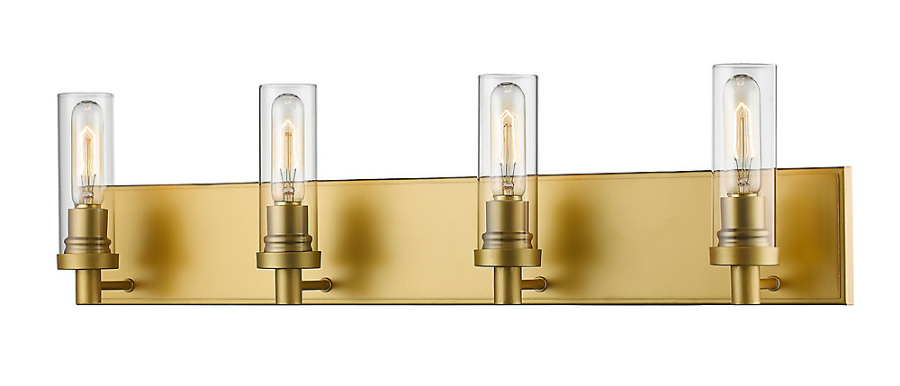 4-Light Satin Gold Vanity with Clear Glass - 4.75 inch