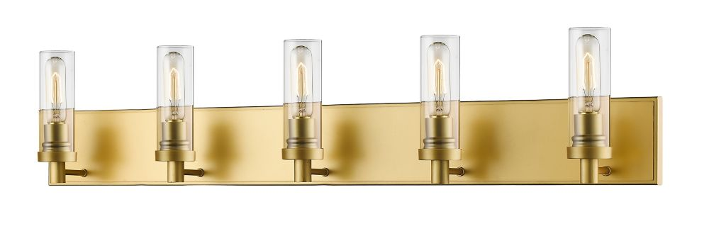 Filament Design 5-Light Satin Gold Vanity with Clear Glass - 4.75 inch