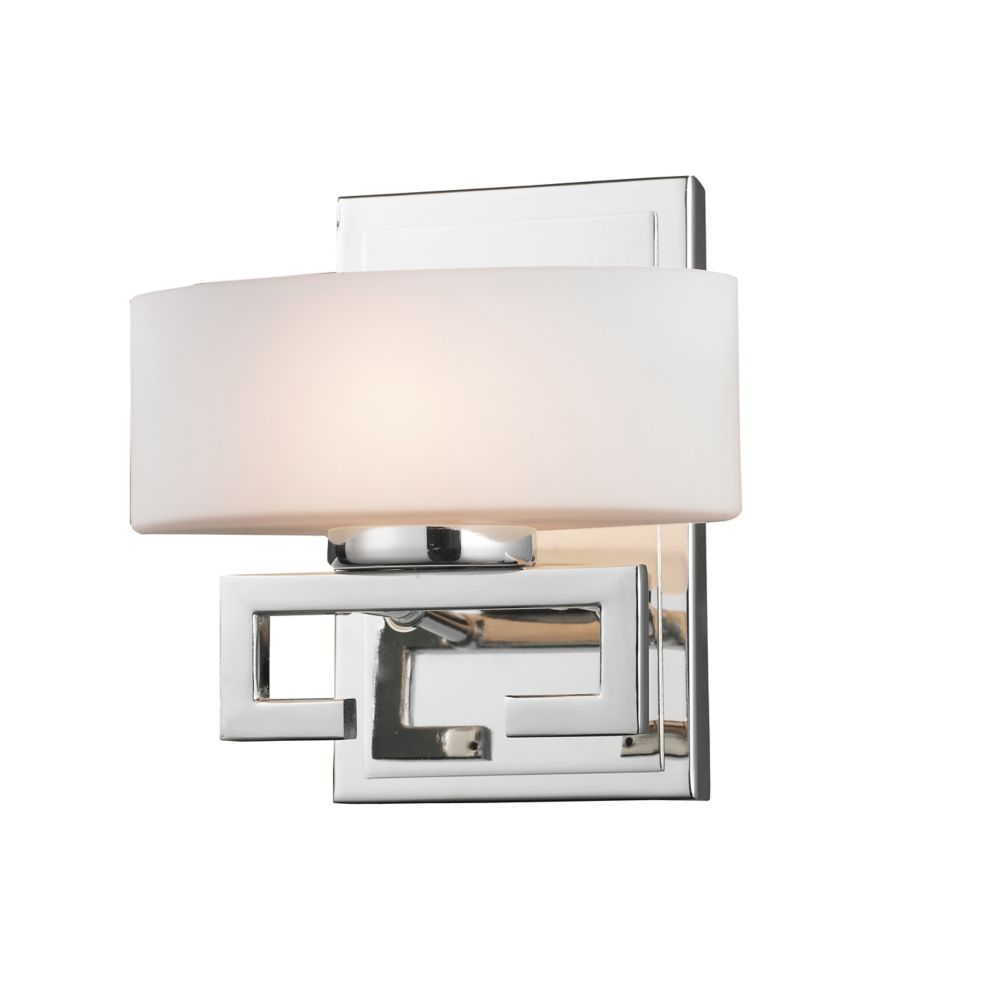1-Light Chrome Vanity with Matte Opal Glass - 5.375 inch