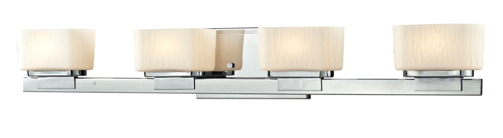 4-Light Chrome Vanity with Matte Opal Glass - 5 inch