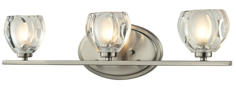 Filament Design 3-Light LED Brushed Nickel Vanity with Clear and Frosted Glass - 3.75 inch