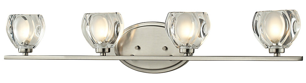 4-Light Brushed Nickel Vanity with Clear and Frosted Glass - 3.75 inch
