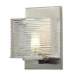 Filament Design 1-Light LED Brushed Nickel Vanity with Clear Glass - 3.75 inch