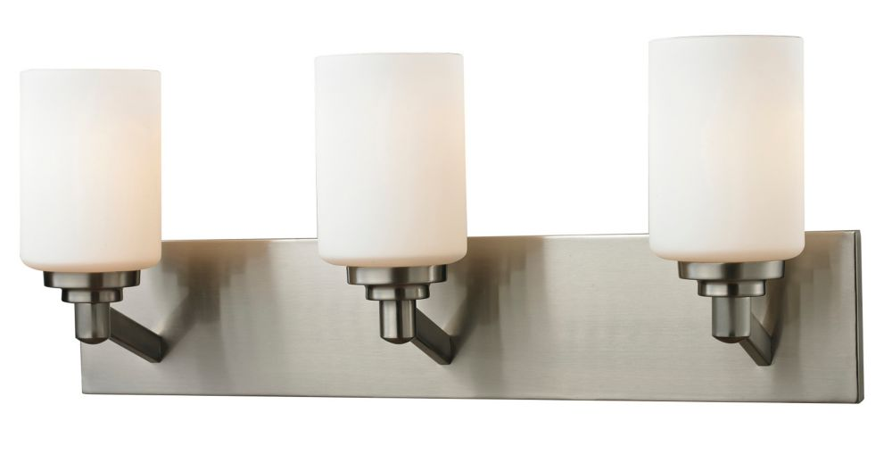 Filament Design 3-Light Brushed Nickel Bath Vanity with Matte Opal Glass Shades