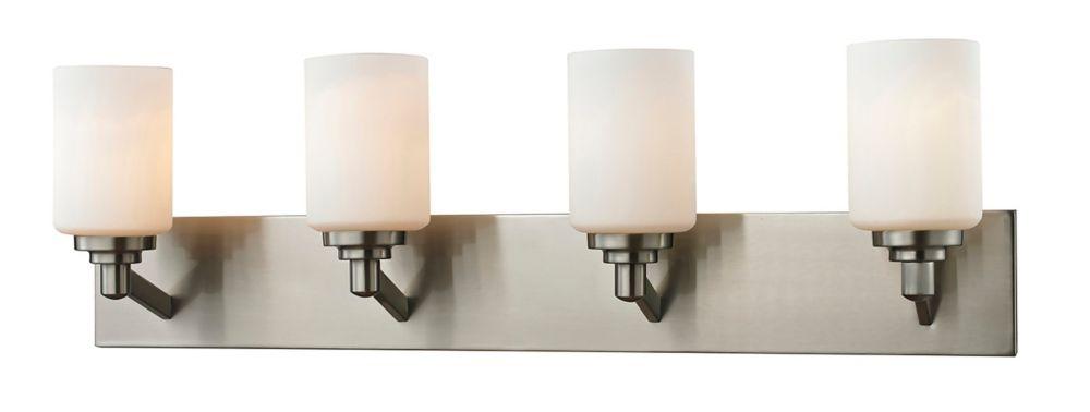 Filament Design 4-Light Brushed Nickel Bath Vanity with Matte Opal Glass Shades