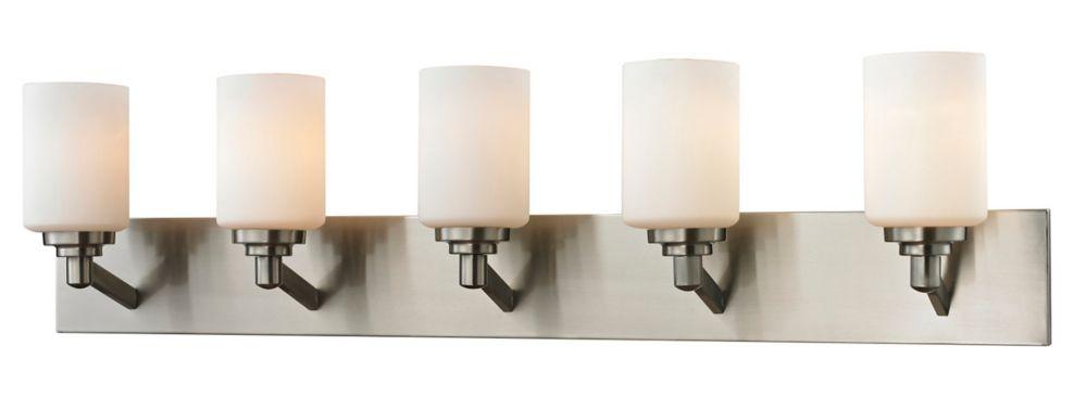 Filament Design 5-Light Brushed Nickel Bath Vanity with Matte Opal Glass