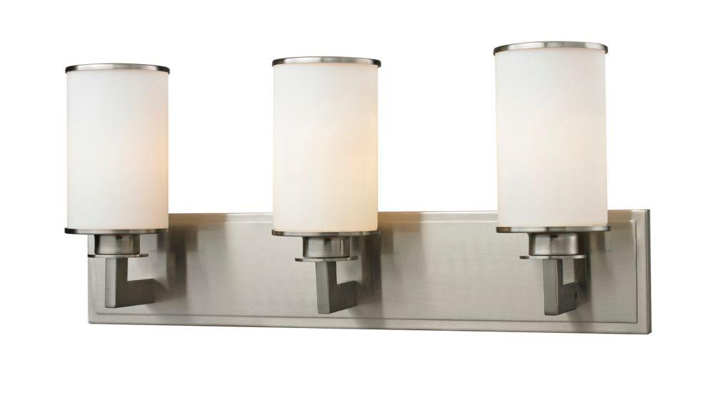Filament Design 3-Light Brushed Nickel Bath Vanity with Matte Opal Glass - 5.5 inch