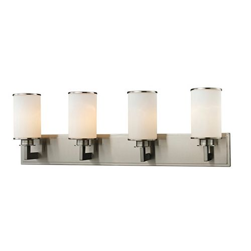 Filament Design 4-Light Brushed Nickel Bath Vanity with Matte Opal Glass - 5.5 inch