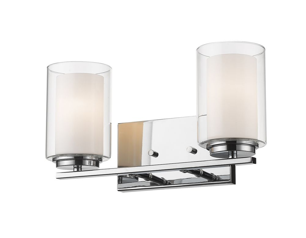 Filament Design 2-Light Chrome Vanity with Clear and Matte Opal Glass - 6 inch