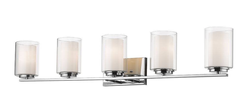 Filament Design 5-Light Chrome Vanity with Clear and Matte Opal Glass - 6 inch