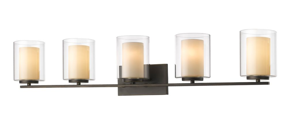 Filament Design 5-Light Olde Bronze Vanity with Clear and Matte Opal Glass - 6 inch