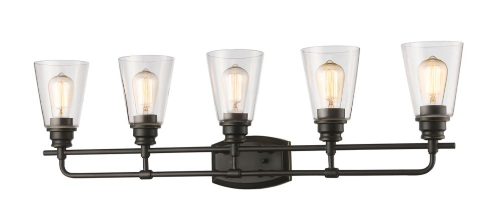 Filament Design 5-Light Olde Bronze Vanity with Clear Glass - 6 inch