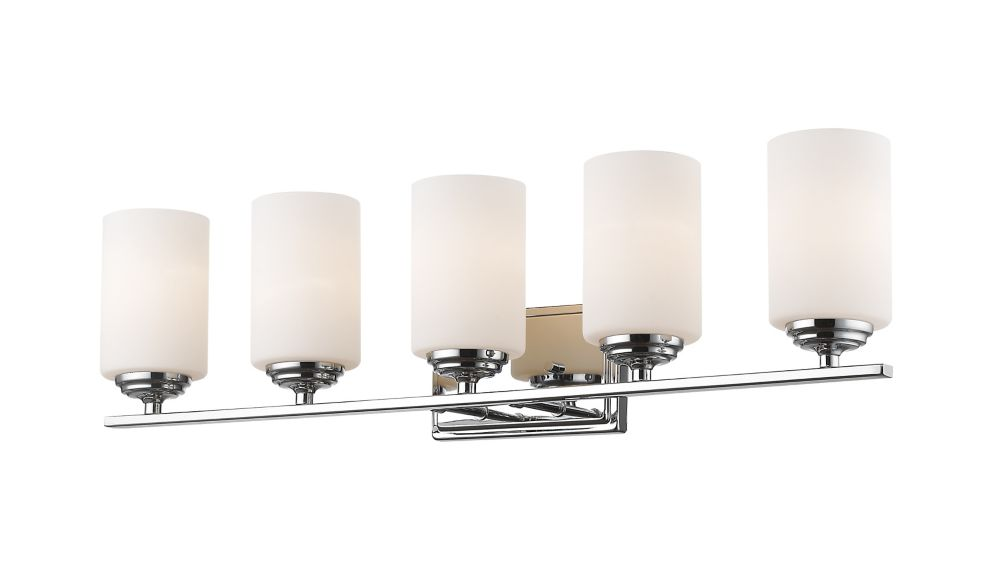 Filament Design 5-Light Chrome Vanity with Matte Opal Glass - 6 inch