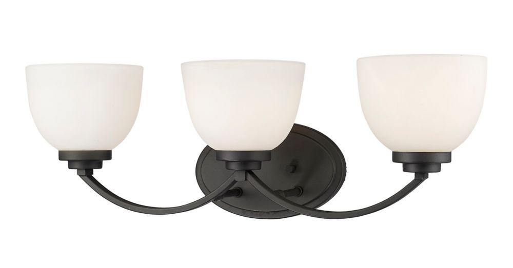 Filament Design 3-Light Bronze Vanity with Matte Opal Glass - 7.25 inch