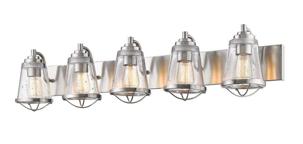 Filament Design 5-Light Brushed Nickel Vanity with Clear Seedy Glass - 7.625 inch