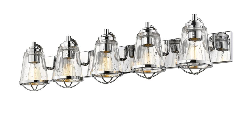 Filament Design 5-Light Chrome Vanity with Clear Seedy Glass - 7.625 inch