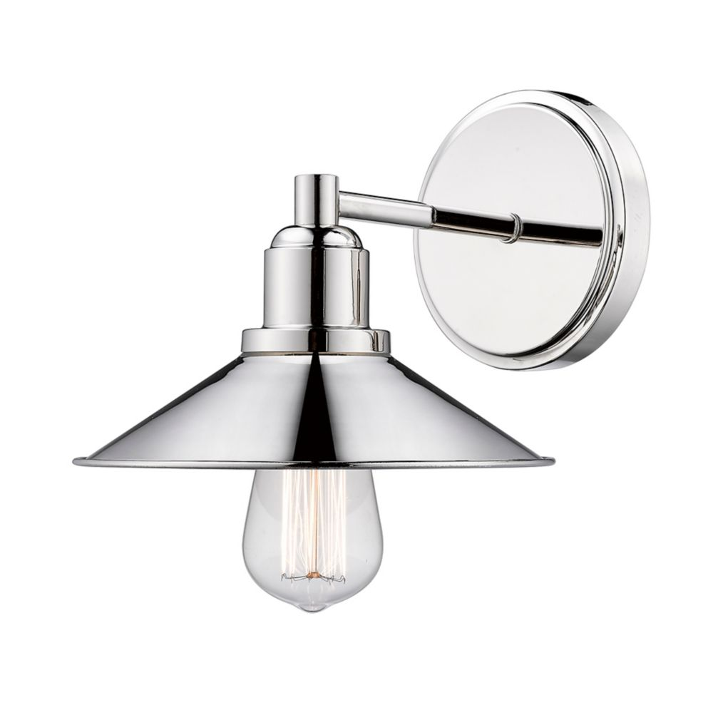 Filament Design 1-Light Polished Nickel Vanity with Polished Nickel Steel Shade - 9.5 inch